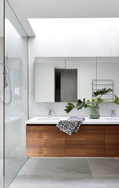 Cheap Bathroom Vanities Ideas Very close match for wall and floor neutrals, with wood vanity + white Cheap Bathroom Vanities, Cheap Bathrooms, Ensuite Bathrooms, Bathroom Toilets, Laundry In Bathroom, Bathroom Renos, Bathroom Renovations, Bathroom Mirror Storage, Shower Bathroom