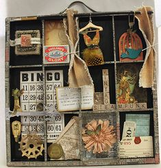 Love how the Bingo card fits into 4 boxes... and the wood letters are used horizontal and vertical... awesome!    Printer's Tray by Candy Rosenberg