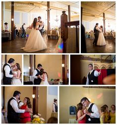 The wedding couple and their families share a special first dance.