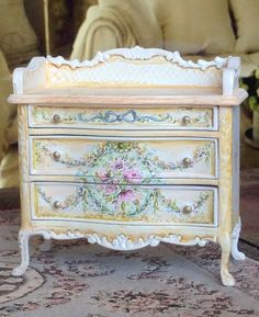 Soft Yellow French Commode 1:12 Dollhouse by MaritzaMiniatures