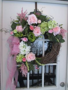 Pinks and Greens Floral Wreath.Spring Wreath by AutumnsEchoShoppe