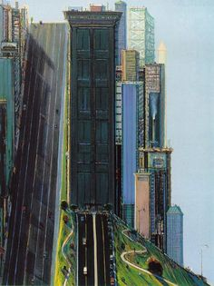 Beautiful Roads and City Paintings by Wayne Thiebaud - Dulcia Danzelman City Painting, Figure Painting, Urban Painting, Modern Art, Contemporary Art, Pop Art Movement, Beautiful Roads, Urban Landscape, Oeuvre D'art