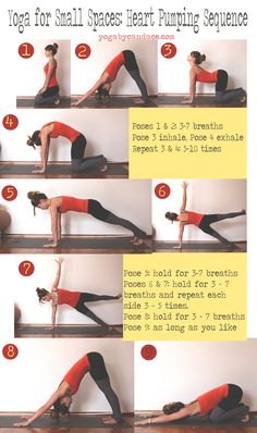 Pin now, practice later. Yoga for small spaces: heart pumping sequence plus a giveaway!