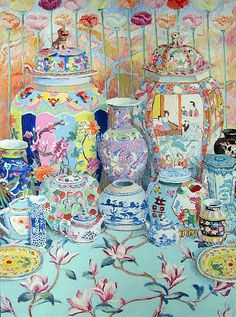 Kaffe Fassett's colorful paintings of Chinese dishes and Oriental porcelains