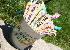 Prayer Pail - Fun idea for helping kids (and adults) keep everyone in their prayers. Choose one or two with your child each evening at bedtime or at grace.