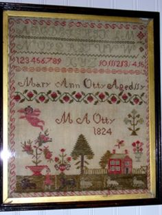 Sampler by Mary Ann Otty  this is an American sampler from Ohio--dated by its 11 year old maker in 1824--