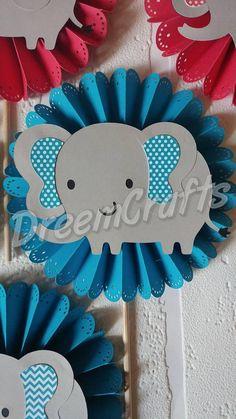 3 piezas elefante central. Elefante bebé ducha. Elefante