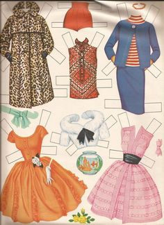 More very familiar Barbie paper doll clothes BB 1962 Barbie clothes V Barbie Paper Dolls, Vintage Paper Dolls, Vintage Barbie, Felt Dolls, Doll Toys, Doll Crafts, Paper Crafts, Barbie Friends, Barbie Clothes