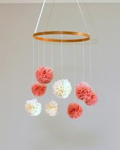 Pink and Ivory Pom Pom Baby Mobile - by maxandmehomewares on madeit