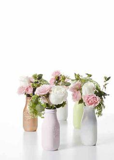 Martha Stewart Mad About Color  DIY Craft Painting - Milk Bottle Flower Centerpiece