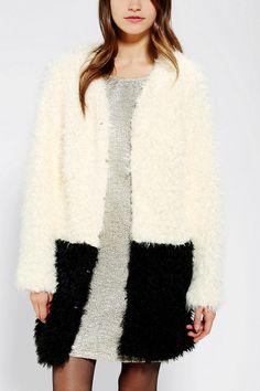 MINKPINK Fashion Colorblock Faux Fur Coat urbanoutfitters.com  sz sm
