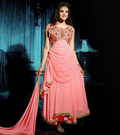 Lovable Pink Chiffon With Patch Border Work Anarkali Suit. Buy Long Anarkali Suit In Canada. Long Anarkali, Anarkali Dress, Anarkali Suits, Wedding Salwar Suits, Gown Suit, Latest Salwar Kameez, Special Dresses, Chiffon Gown, Prom Dresses