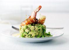 Avocado Tartlet with basil and shrimp