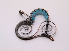 Copper wire wrapped heart pendant with aqua blue by DeFactoryshop, zł50.00