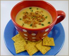 Easy Cheesy Crock Pot Potato Soup (Slow Cooker)- one of my weaknesses. . .cheesy potato soup.       Can't get any easier if you can throw all the ingredients in a crock pot, leave it for a couple of hours and have it ready for lunch or dinner!!