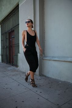 american apparel body suit, zara bermudas, rupert sanderson sandals, prada sunglasses, and jil sander clutch