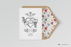 la Paraphernalia - Invitaciones de boda Old School Style, Wedding Invitations, Wedding Inspiration, Graphic Design, Tattoo, Bride, Pinterest Board, Love At First Sight, Wedding Styles
