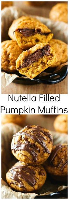 Nutella Filled Pumpkin Muffins