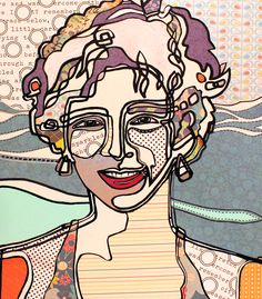 Anna Maria then and now - Abstract POP - collage, pen on board