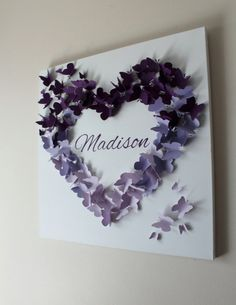 20 x 20 Personalized Purple Ombre Butterfly by ButterflyAndBaby