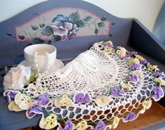 Crochet Doily Pansies Spring Cottage Charm by mailordervintage