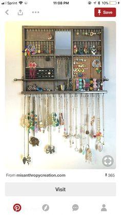 jewelry organizer using doordrawer pulls Accessories Pinterest