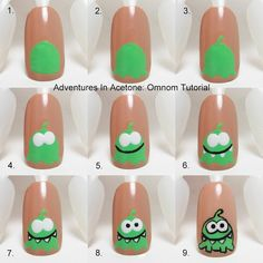Adventures In Acetone: Tutorial Tuesday: Omnom Nail Art! http://www.adventuresinacetone.com/2013/08/tutorial-tuesday-omnom-nail-art.html