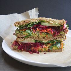 THE ULTIMATE VEGGIE SANDWICH makes 1 sandwich  two slices seeded whole grain bread (I love Dave's Killer Bread in Powerseed) 1/4 thinly slic...