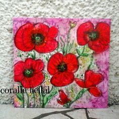Carte coquelicots aquarelle peinte à la main,carte anniversaire unique : Cartes par coralie-bellal