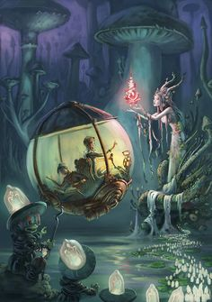 The Art Of Animation, Emil Landgreen / sci fi fairy city / fantasy / magic / digital art / fairy tale / toadstools Art And Illustration, Illustrations, Steampunk Illustration, Steampunk Kunst, Steampunk Fairy, Fantasy Landscape, Fairy Art, Fantasy Artwork, Fantasy World