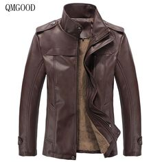 QMGOOD Autumn Winter Size M- 3XL PU Slim Fit Male Leather Jacket Men Casual Stand Collar Thick Warm Velvet Mens Jackets Coat #Affiliate