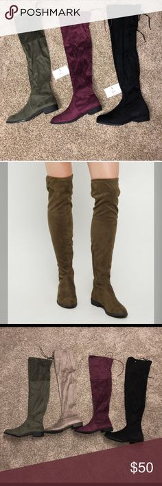 Olive Over The Knee Boots   MAKE A OFFER Treat the streets like your personal runway in these over the knee boots! Made with soft faux suede, they feature a fashion tie at the back of the thigh for the ultimate impression.  By Yoki Height: 24.5 Zip side Non-skid sole Man-made materials Imported BUNDLE to save Shoes Over the Knee Boots