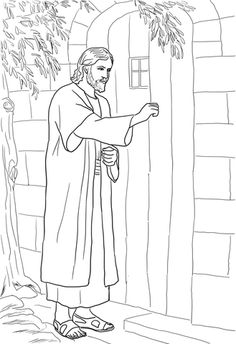 Jesus Knocking at the Door coloring page from Jesus Mission Period category. Select from 26388 printable crafts of cartoons, nature, animals, Bible and many more. Jesus Coloring Pages, Free Printable Coloring Pages, Colouring Pages, Coloring Pages For Kids, Coloring Books, Bible Crafts, Bible Art, Sunday School Coloring Pages, Bible Activities