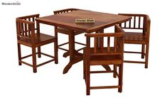 Buy Cohoon 4 Seater Dining Set (Honey Finish) Online in India - Wooden Street Wooden Dining Table Designs, Wooden Dining Tables, Dining Room Design, Dining Set, 4 Seater Dining Table, Set Honey, Wooden Street, Small Room Design, India