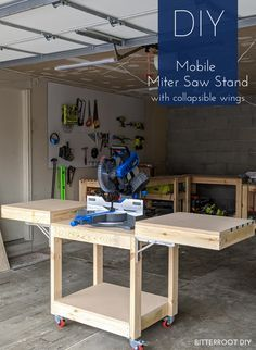 Build this DIY mobile miter saw stand with collapsible wings with free plans from Bitterroot DIY. Build this DIY mobile miter saw stand with collapsible wings with free plans from Bitterroot DIY. Diy Miter Saw Stand, Mitre Saw Stand, Miter Saw Table, Mitre Saw Bench, Miter Saw Stand Plans, Table Saw Workbench, Workbench Plans Diy, Building A Workbench, Woodworking Workbench