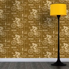 The Cyclist Wallpaper (golden brown) on tweed background is our way of paying homage to The Tweed Run a metropolitan bicycle ride (established in 2009). Design by ATADesigns. http://www.atadesigns.com/portfolioentry/cyclist-wallpaper-golden-brown/