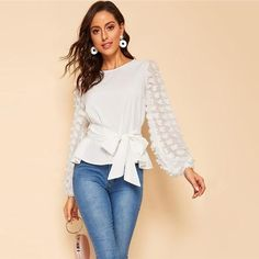 SHEIN Appliques Lantern Sleeve Belted White Blouse Women Tops Spring Elegant Long Sleeve Round Neck Solid Tops and Blouses Spring Shirts, Spring Tops, White Long Sleeve, Long Sleeve Tops, Older Women Fashion, Bishop Sleeve, Dressy Tops, Types Of Sleeves, Blouses For Women