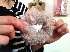 夏っぽシュシュの作り方・編み方/100均キラキラ糸でボリューム満点☆ diy crochet scrunchie tutorial - YouTube