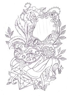 Leg mask and mirror tattoo sketch by *Nevermore-Ink on deviantART
