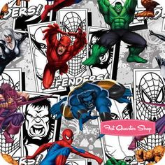 Multi Comic Scenes by Camelot Cottons (Marvel Heroes collection).