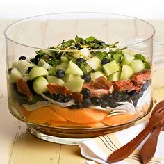 Make this delicious layered salad for brunch or a light, no-cook dinner: http://www.bhg.com/recipe/fruit/smoked-salmon-and-melon-salad/?socsrc=bhgpin060214smokedsalmonandmelonsalad