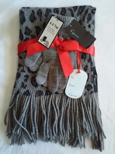 New Cejon Womens Scarf & Glove Set Leopard Gray Black  #Cejon #ScarfGloveSet