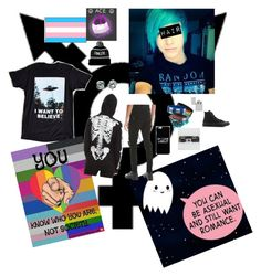 """""""Asexual Trans emo boy"""" by mylifeinsilentwonderland ❤ liked on Polyvore featuring Identity, Urban Outfitters, Tripp, Converse, Hot Topic, Warner Bros., Buckle-Down and Zippo"""