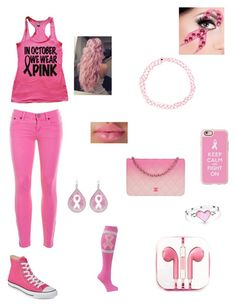 """""""Breast Cancer Outfit❤ October"""" by caylon-payne on Polyvore featuring Casetify, J.Crew, Converse, Chanel, PhunkeeTree and Bling Jewelry"""