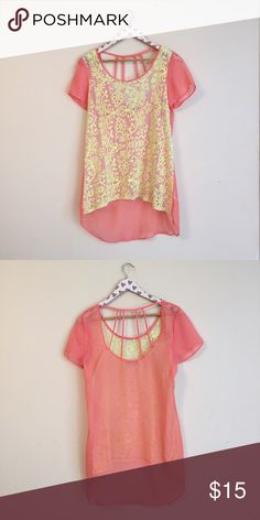 Lace Cage Back Top Juniors large. Dillard's. Sheer. Yellow and pink. GB Tops Blouses
