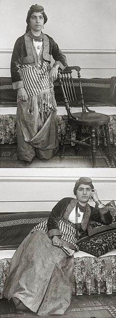An Armenian woman from Erzurum in festive costume.  Late-Ottoman era, urban style, early 20th century.