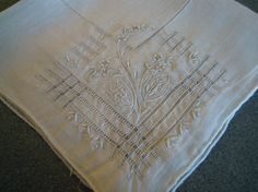 Linen Embroidered Handkerchief Appenzell Style by TallulahsVintage