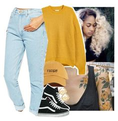 """I got a crick in my neck, limp in my step Crampin' in my muscles every time I try to flex"" ✨"" by jchristina ❤ liked on Polyvore featuring H&M, Vans, American Apparel and Jeremy Scott"