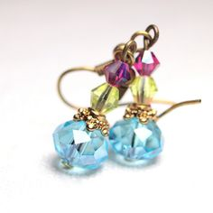 blue earrings Aquamarine czech glass with lime green by sianykitty, $10.00