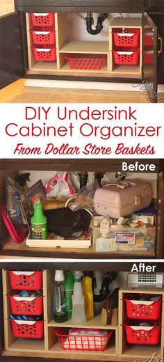 From a single sheet of plywood and some dollar store bins she built this fabulous organizer. What a great way to use all that awkward space under the sink! Undersink Cabinet Organizer with Pull Out (Diy Organization)